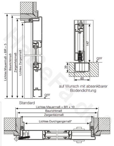 Stahlzarge maße  Alu Innentür AZ-40 mit Verglasung; Maße: B: 1250mm, H: 2000/2125mm