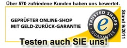 Trusted Shops zertifiziert!!!
