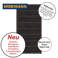 Nebentür M-Sicke Woodgrain von Hörmann für Renomatic 2019 in Night Oak mit Blockzarge
