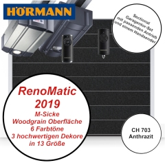 Sectionaltor Hörmann Renomatic 2019 Woodgrain CH 703 mit Antrieb und Handsender