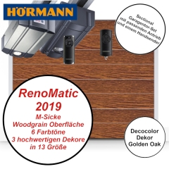 Sectionaltor Hörmann Renomatic 2019 Woodgrain Golden Oak mit Antrieb und Handsender