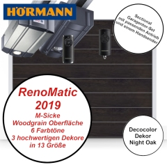 Sectionaltor Hörmann Renomatic 2019 Woodgrain Night Oak mit Antrieb und Handsender