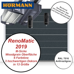 Sectionaltor Hörmann Renomatic 2019 Woodgrain RAL 7016 mit Antrieb und Handsender