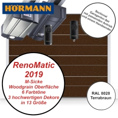 Sectionaltor Hörmann Renomatic 2019 Woodgrain RAL 8028 mit Antrieb und Handsender