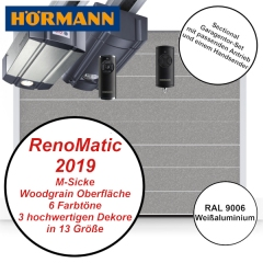 Sectionaltor Hörmann Renomatic 2019 Woodgrain RAL 9006 mit Antrieb und Handsender