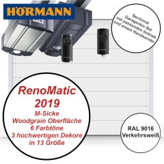 Sectionaltor Hörmann Renomatic 2019 Woodgrain RAL 9016 mit Antrieb und Handsender