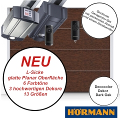 Sectionaltor Hörmann Renomatic 2019 in Dark Oak mit passenden Antrieb und Handsender