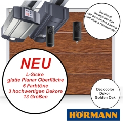 Sectionaltor Hörmann Renomatic 2019 in Golden Oak mit passenden Antrieb und Handsender
