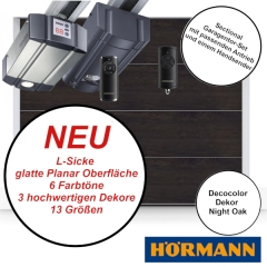 Sectionaltor Hörmann Renomatic 2019 in Night Oak mit passenden Antrieb und Handsender